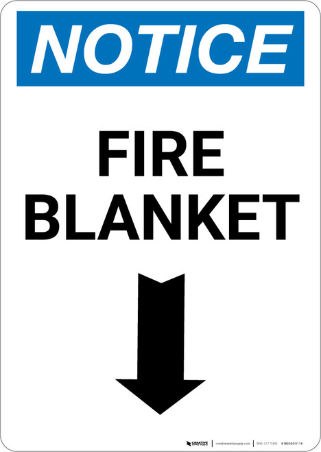 Notice: Fire Blanket with Down Arrow Portrait - Wall Sign