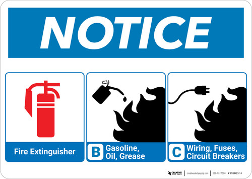 Notice: Fire Extinguisher and Flammable Materials with Icons - Wall Sign