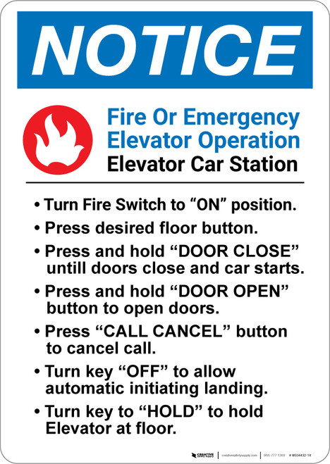 Notice: Fire Or Emergency Elevator Operation - Wall Sign