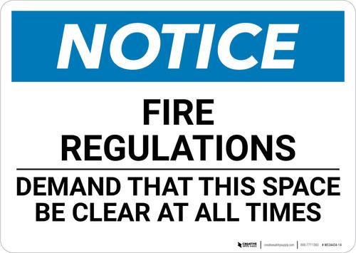 Notice: Fire Regulations - Wall Sign