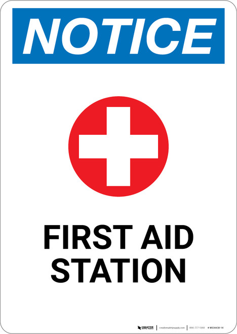 Notice: First Aid Station with Icon - Wall Sign