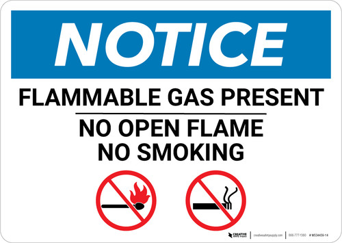 Notice: Flammable Gas Present No Open Flame No Smoking with Icons - Wall Sign