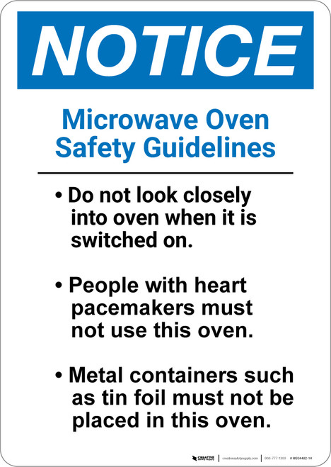 Notice: Microwave Oven Safety Guidelines - Wall Sign