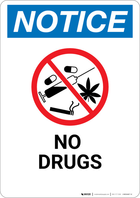 Notice: No Drugs with Icon - Wall Sign