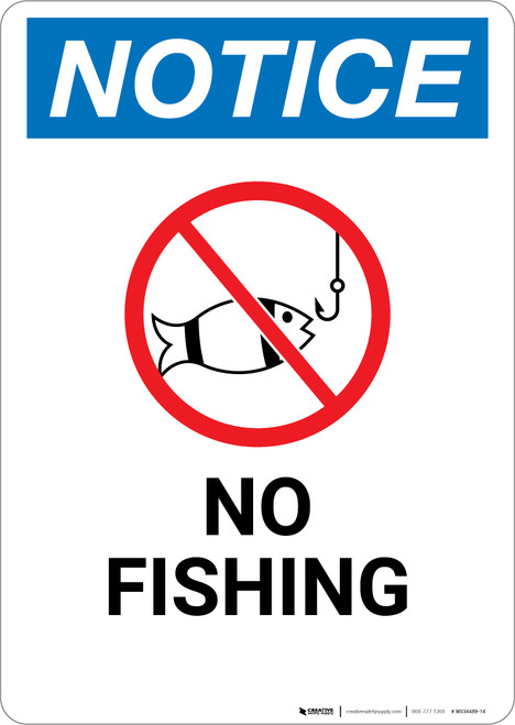 Notice: No Fishing with Icon - Wall Sign