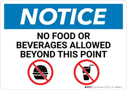 Notice: No Food Or Beverages Allowed Beyond This Point with Icons - Wall Sign