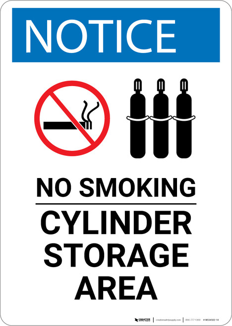 Notice: No Smoking Cylinder Storage Area with Icons - Wall Sign