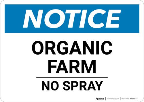 Notice: Organic Farm No Spray - Wall Sign