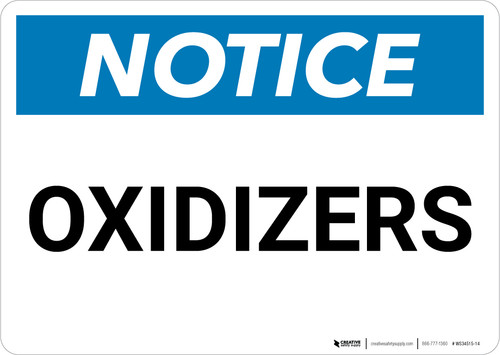 Notice: Oxidizers - Wall Sign