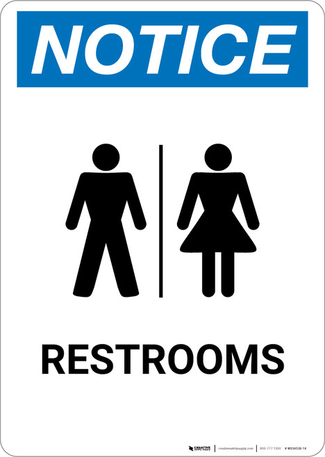 Notice: Restrooms Portrait with Icon - Wall Sign