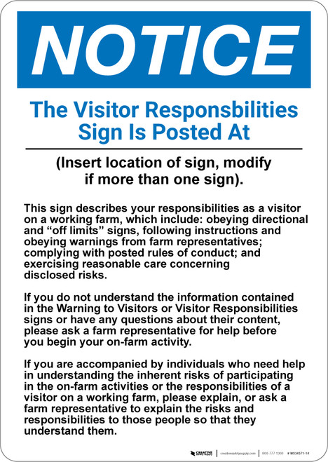 Notice: The Visitor Responsibilities Sign - Wall Sign