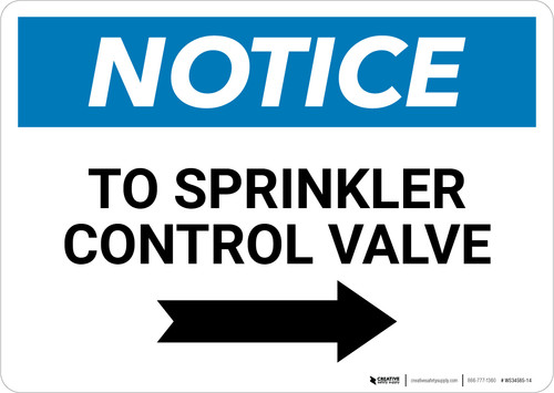 Notice: To Sprinkler Control Valve - Wall Sign