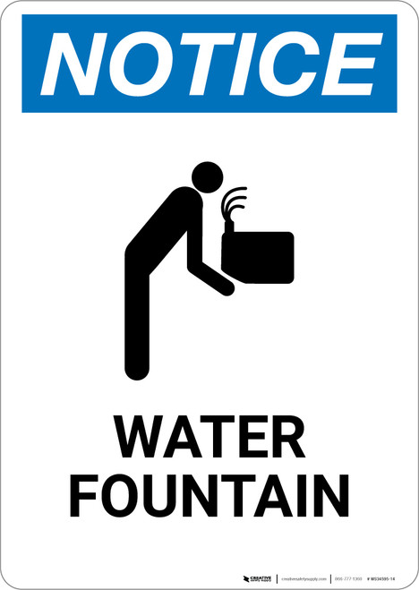 Notice: Water Fountain with Icon - Wall Sign