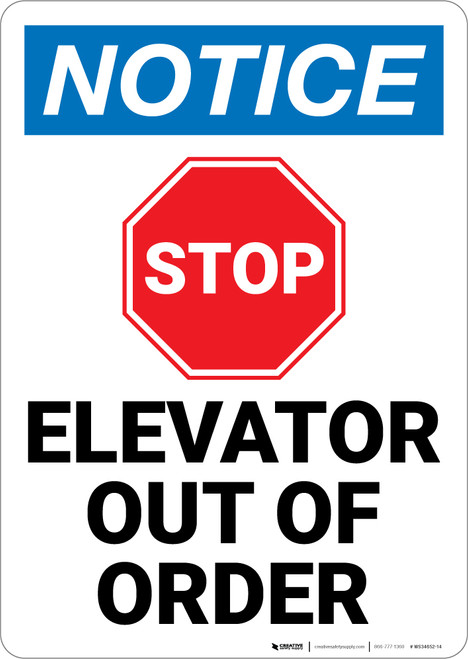 Notice:  Elevator Out Of Order Stop Sign Icon Portrait - Wall Sign
