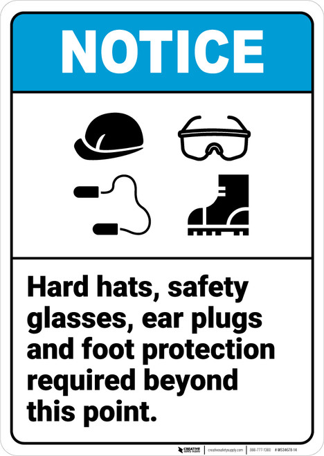 Notice: Hard Hats Safety Glasses Ear Plugs Foot Protection Required Icons Portrait ANSI - Wall Sign