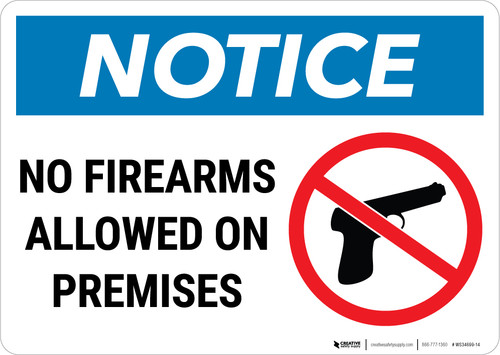 Notice: No Firearms Allowed Premises with Icon Landscape - Wall Sign
