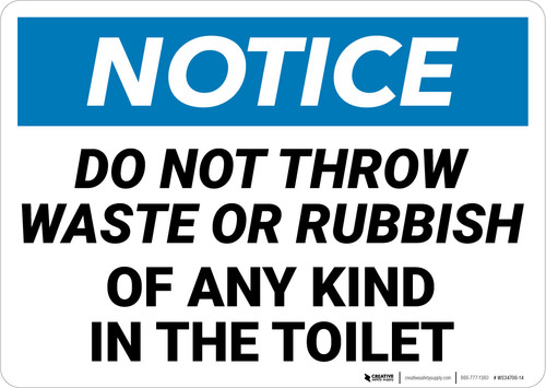 Notice: No Waste Or Rubbish Toilet Landscape - Wall Sign