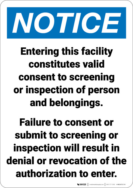 Notice: Facility Screening Consent Portrait - Wall Sign