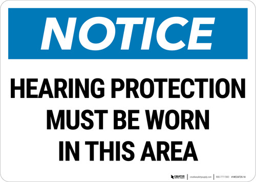 Notice: PPE Hearing Protection Must be Worn Landscape - Wall Sign