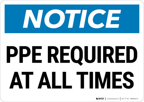 Notice: PPE Required At All Times Landscape - Wall Sign