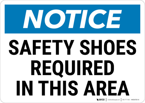 Notice: PPE Safety Shoes Required in This Area Landscape - Wall Sign