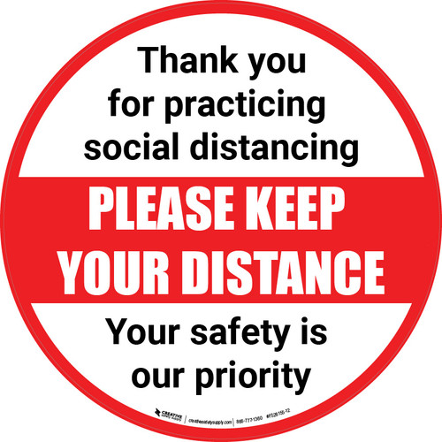 Social Distancing - Please Keep Your Distance Circle - Floor Sign