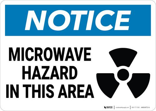 Notice: Microwave Hazard In This Area Hazard Icon Landscape - Wall Sign