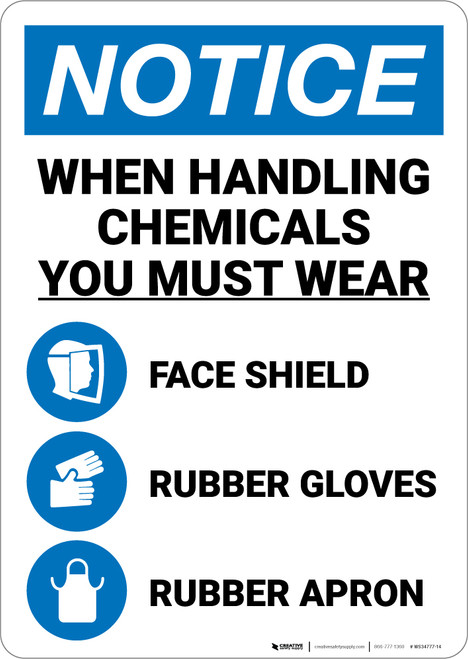Notice: When Handling Chemicals Wear Face Shield Rubber Gloves Apron with Icons Portrait - Wall Sign
