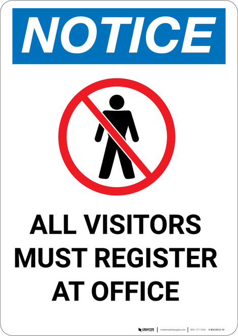 Notice: All Visitors Must Register At Office With Icon - Portrait Wall Sign