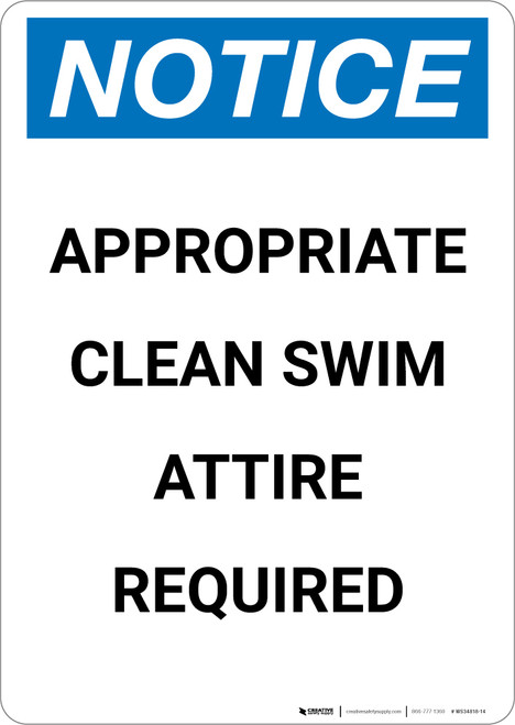 Notice: Appropriate Clean Swim Attire Required - Portrait Wall Sign