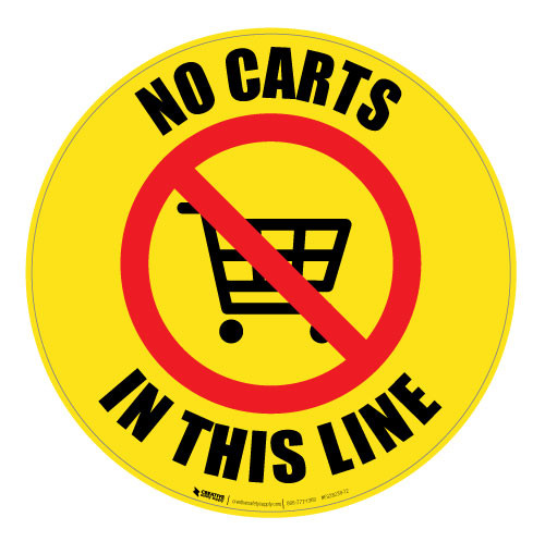 No Carts in This Line - Floor Sign