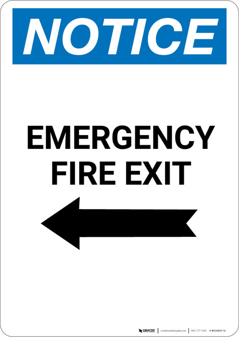 Notice: Emergency Fire Exit with Arrow Left - Portrait Wall Sign