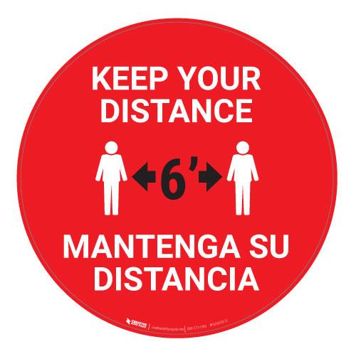Keep Your Distance - Bilingual - Floor Sign