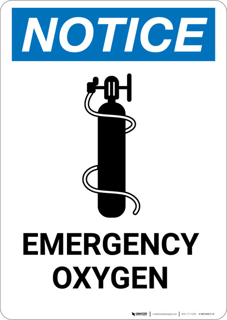 Notice: Emergency Oxygen with Icon - Portrait Wall Sign