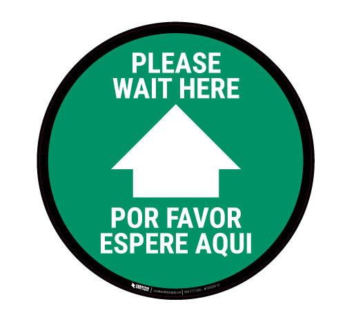 Please Wait here - Green - Bilingual - Floor Sign