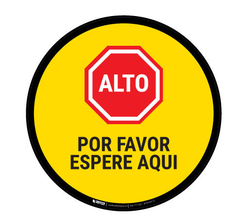 Alto Por Favor Espere Aqui - Floor Sign