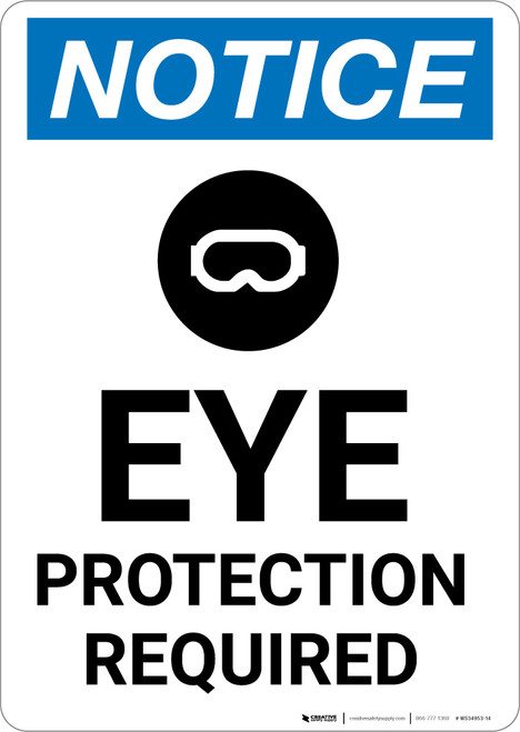 Notice: Eye Protection Required with Icon - Portrait Wall Sign
