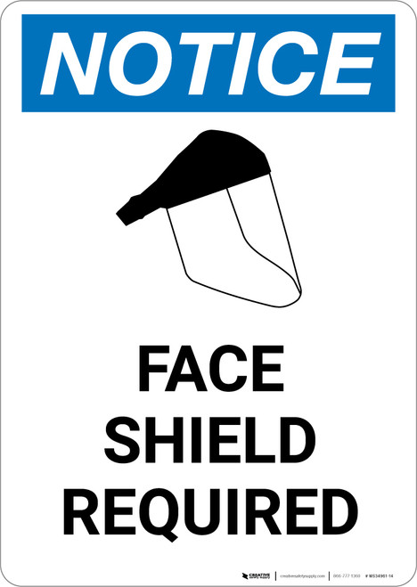 Notice: Face Shield Required with Graphic - Portrait Wall Sign