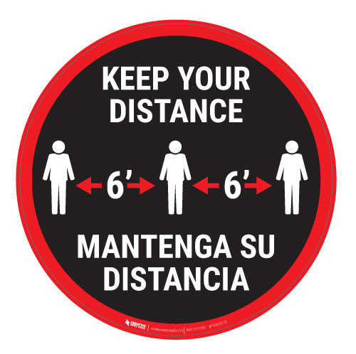 Keep Your Distance-Red/Black - Bilingual - Floor Sign