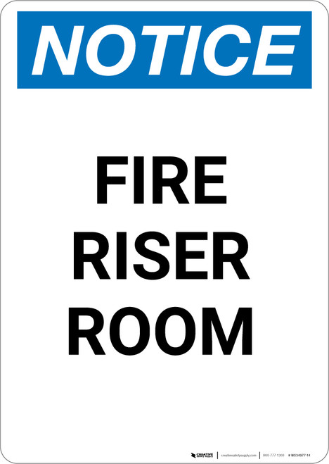 Notice: Fire Riser Room - Portrait Wall Sign
