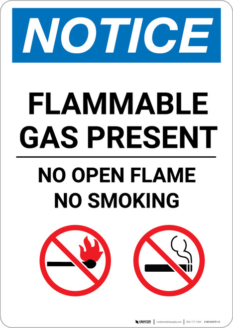 Notice: Flammable Gas Present No Open Flame No Smoking with Icons - Portrait Wall Sign
