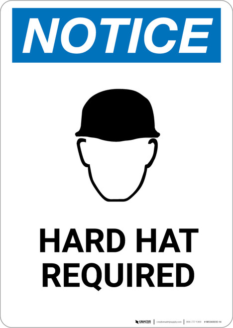 Notice: Hard Hat Required with Icon - Portrait Wall Sign