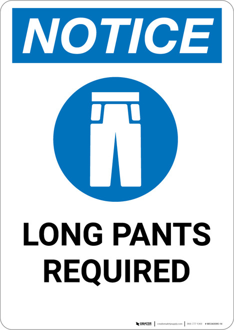 Notice: Long Pants Required with Icon - Portrait Wall Sign