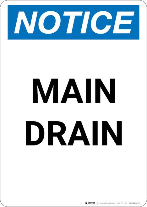 Notice: Main Drain - Portrait Wall Sign