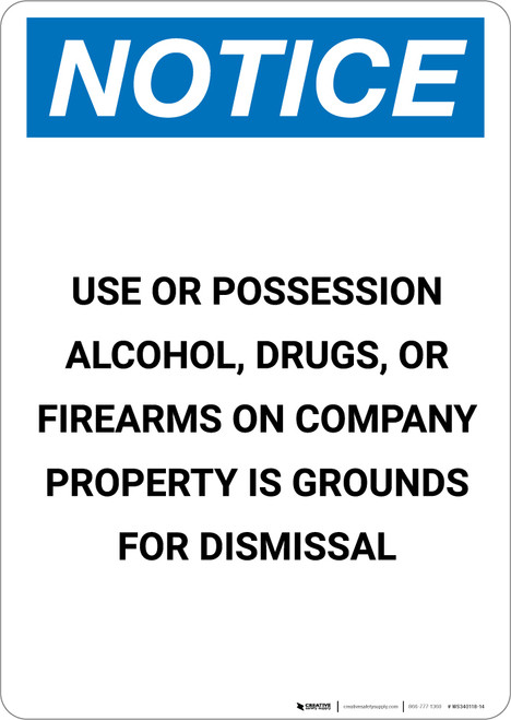 Notice: Alcohol, Drugs, or Firearms on Company Property is Grounds for Dismissal - Portrait Wall Sign