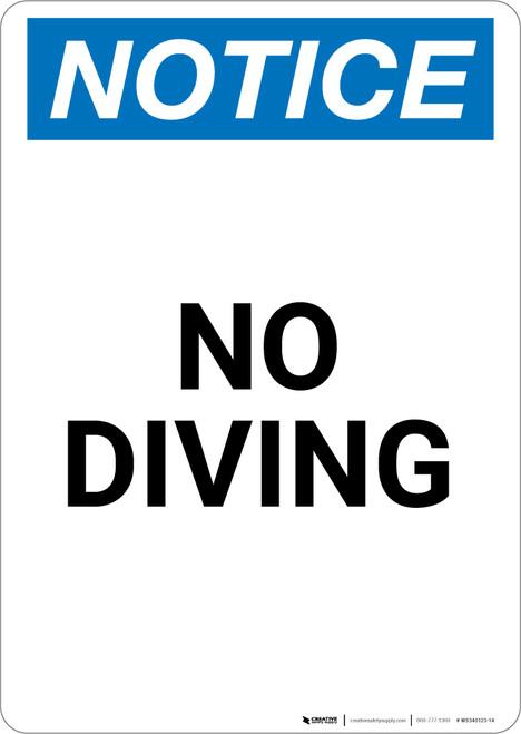 Notice: No Diving - Portrait Wall Sign