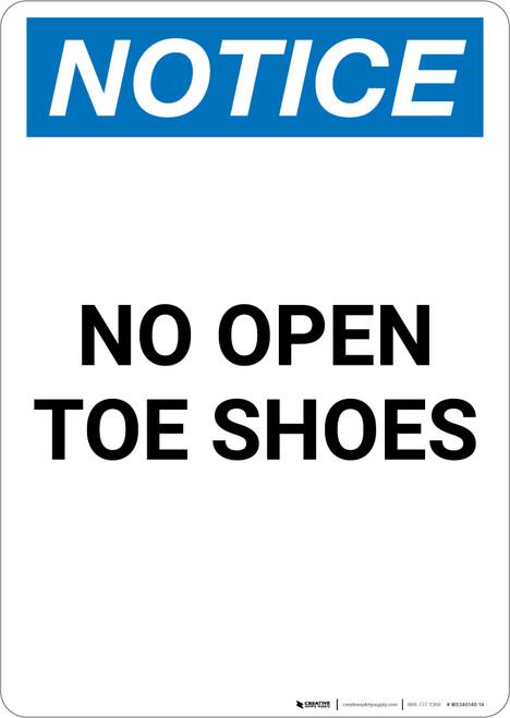 Notice: No Open Toe Shoes - Portrait Wall Sign