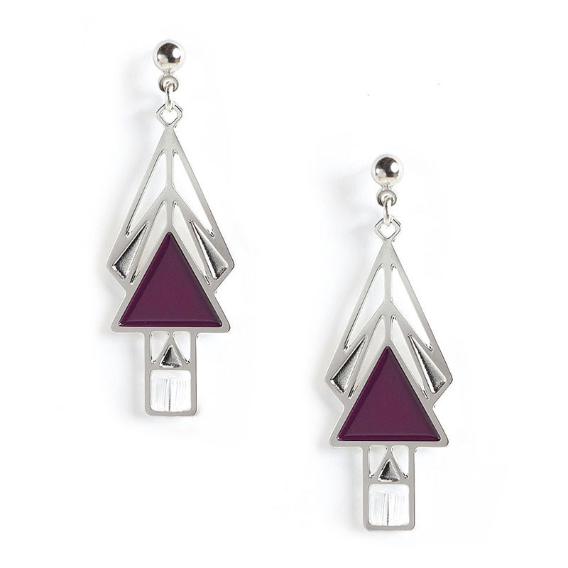 Mahony Window Wine Enamel Earrings