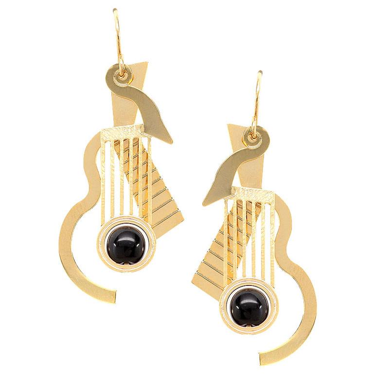 Cubist Guitar Earrings Black Glass Bead Earrings