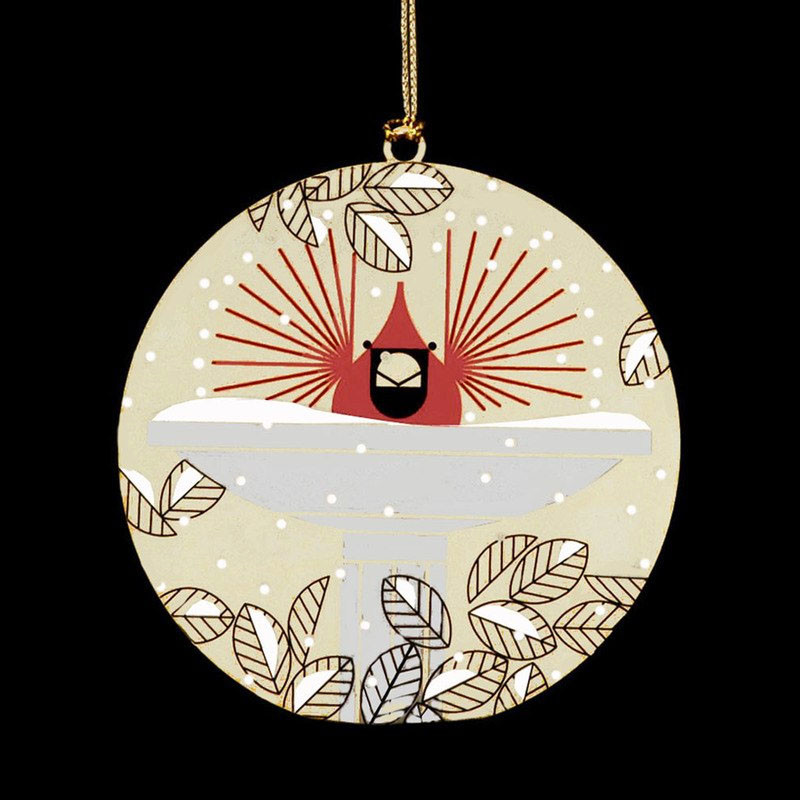 Charley Harper Brass BRRRRRDBATH Ornament Adornment